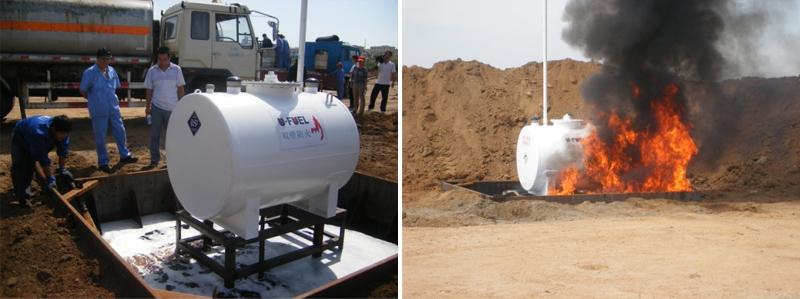 装载汽油的测试储罐放置在柴油槽中,点燃柴油测试开始