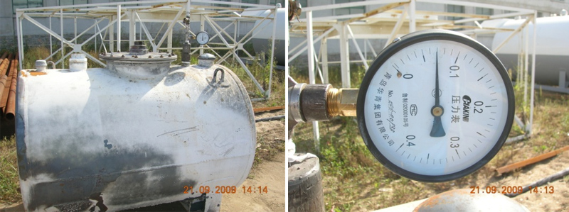 经两小时焚烧后的优孚尔储罐保压良好,压力表显示保压值